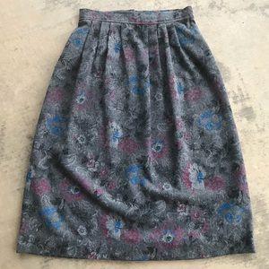 Vintage Grey Floral Wool Highwaisted Midi Skirt